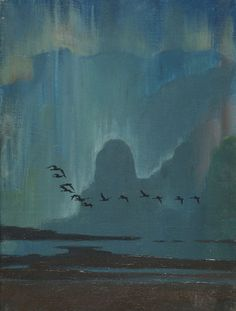 Flying geese against the aurora by Sir Peter Markham Scott