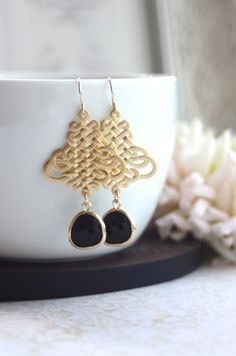 Black Filigree Gold Earrings. Black Gold Oriental by Marolsha