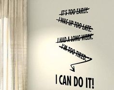 I Can Do It Workout Motivational Fitness Gym Life workout Quote wall vinyl decals stickers DIY Art Decor Bedroom Home Happiness