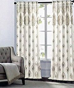 Amazon.com: Nicole Miller Pair of Window Panels Curtains Drapery Set of 2 Medallion Pattern Gray Beige Taupe Medallions on Cream 52 Inches by 96 Inches: Kitchen & Dining
