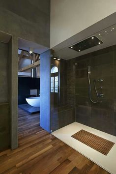 Modern Bath with a curbless shower