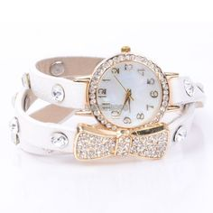 Bow Tie white Strap Rhinestones Woman Watch