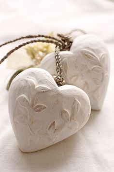 white heart ornaments