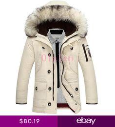 6a640d8fb9b0 Mens Duck Down Coat hooded Wool Winter Parka Goat Fur Collar Jacket  Overcoat Hot