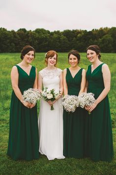 Green Bridesmaids Dresses   Tim and Nat's Stylish Brewery Wedding by Emma Kenny   www.onefabday.com