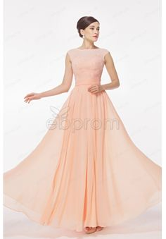 Modest Cap Sleeves Peach Pink Lace Chiffon Prom Dresses Long