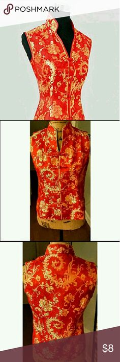 Red and gold traditional Chinese/Oriental blouse Tagged size large but runs very small Tops Blouses