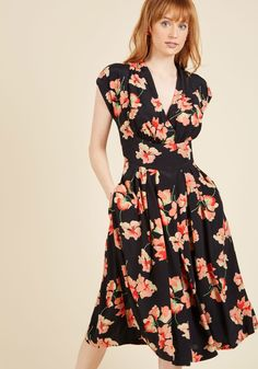 Saunter Sweetly Midi Dress. Rush around in this black dress from Emily and Fin? #pink #modcloth