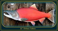 KOKANEE SALMON fish wood carving, fishing decor, fishing art, fly fishing art, fish art, Fathers day gift, fish wall mount, 22 inch. like this one,