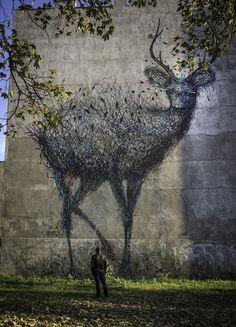 Deer by DALeast in Lodz, Poland