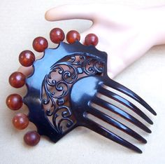 Victorian hair comb Spanish style with balls by ElrondsEmporium, $40.00