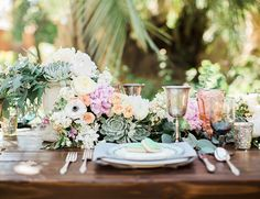 succulent table runner | Peach & Mint Garden Wedding - Inspired by This