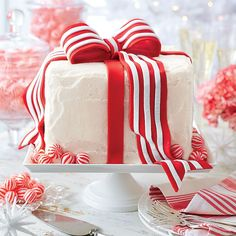 White Cake with Peppermint Frosting - Garnish with a fondant bow or Peppermint Meringue Cookies.