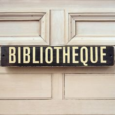 Bibliotheque Wooden Sign Made To Order Library Sign.