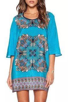 Scoop Neck Floral Printed Half Sleeve Dress
