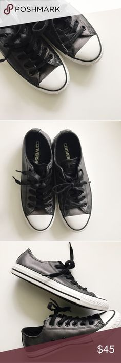 """{Converse} Metallic Leather Ox, Black Metallic leather """"Color Shift"""" CT Ox by Converse. Size 6.5 can fit a 6.5 or 7. Women's sizing, NOT unisex. Only worn once. Perfect condition with no signs of wear. Hard to find style! { Super Fast Shipping / 10% Off Bundles / Reasonable Offers Welcome } Converse Shoes Sneakers"""