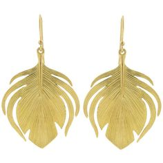 Small Peacock Earrings - Yellow Gold ($1,000) ❤ liked on Polyvore featuring jewelry, earrings, gold, gold earrings jewelry, long earrings, gold jewellery, annette ferdinandsen earrings and peacock feather jewelry
