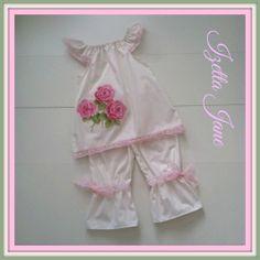 Shabby Chic Rose Pantaloon Dress Set  Size 12  18 by IzettaJane, $40.00