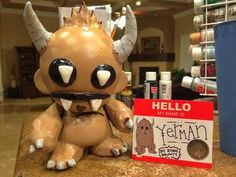 This is for a completely one of a kind Munny molded with Sculpey and hand painted as Yerman the Sad Yeti. Hello My Name Is, Designer Toys, Depressed, Monsters, Mickey Mouse, Hand Painted, Cute, Kawaii, Baby Mouse