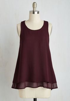 Show and Tier Top in Wine - Red, Solid, Tiered, Work, Minimal, A-line, Sleeveless, Fall, Woven, Good, Variation, Scoop, Mid-length