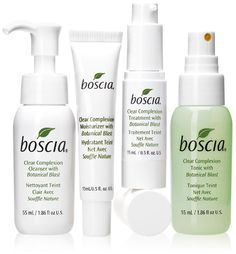 Boscia: preservative-free skincare- Clear Complexion Collection formulated specifically for active blemish-prone skin. #clearskin #boscia #preservativefree