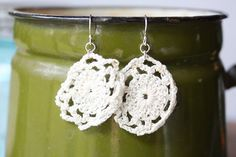 Simple Antique Crocheted Creamy White Mini Doliy Earrings with Sterling Silver Fishhooks. $8.00, via Etsy.