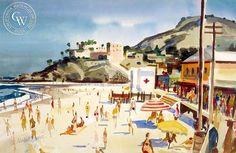 Milford Zornes - Main Beach, Laguna, 1952 - California art - fine art print for sale, giclee watercolor print - Californiawatercolor.com