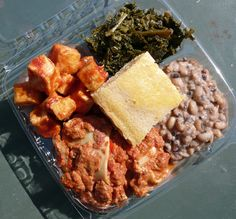 soul food pictures | soul food dinner combo with kale, black-eyed peas, bbq tofu and ...