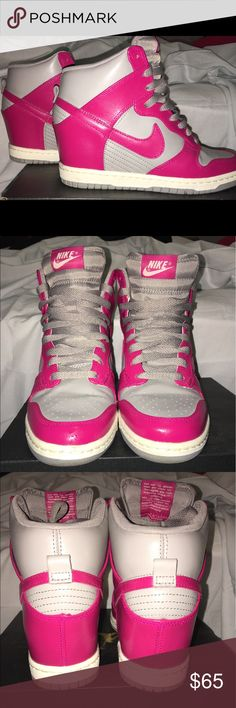 Nike women Sky-Hi wedges Nike women Sky-Hi High Grey/Fuchsia hidden wedge heels sneakers (Used) in great condition! barely worn Nike Shoes Sneakers