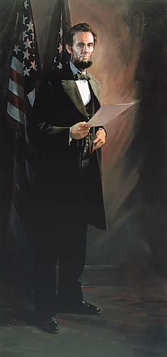 "Painting by John Buxton -- Abraham Lincoln 96"" x 46"" oil"