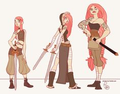 Clara the Sword Viking. A character study of an aging character from tweens, teens, to adult. By Jessica Madorran.