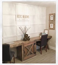 rustic office with base and two side desks