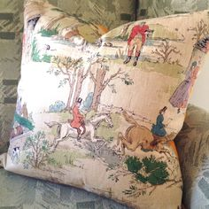 Vintage Sanderson Hunt Print 20x20 by MissusTroutAtHome on Etsy Cotton Linen, Printed Cotton, Pillow Inserts, Pillow Covers, Equestrian Decor, Retro Fabric, Drapery Panels, Straight Stitch, Country Style Homes