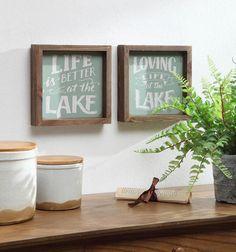 Summer Cottage Lake Life Wall Block Decor Assortment of 2 Rustic Wooden Box, Wooden Boxes, Lakeside Living, Coastal Living, Lake Quotes, Lake Signs, Wood Wall Decor, Lake Life, Spring Green