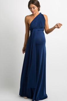 08a1e33c1a47 Navy Blue Solid Pleated Convertible Maxi Dress Abiti Da Damigella D onore  Premaman