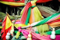 Thai Culture: You will often see trees in Thailand wrapped with colorful cloth. They believe that spirits inhabits these trees.