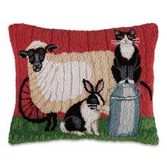 Farm Friends Hooked Wool Pillow | Sturbridge Yankee Workshop