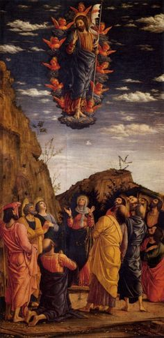 MANTEGNA, Andrea The Ascension of Christ 1460-64 Tempera on wood, 86 x 162 cm (entire triptych) Galleria degli Uffizi, Florence.