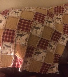 Love how this moose rag quilt turned out!  Flannel rag quilt, rustic quilt, moose decor
