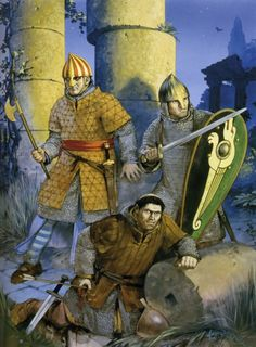 """""""Norman warriors in Muslim Sicily, century"""" Angus McBride Medieval World, Medieval Knight, Medieval Fantasy, Norman Knight, Kingdom Of Jerusalem, Les Runes, High Middle Ages, Germanic Tribes, Armadura Medieval"""