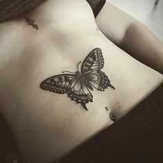 Butterfly tattoo on the stomach and unalome on the Nature Tattoos, Body Art Tattoos, New Tattoos, Small Tattoos, Moth Tattoo, Sternum Tattoo, Chest Tattoo, Piercing Tattoo, Piercings