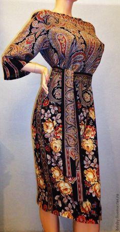 """Платье из павловопосадских палантинов """"Расцветающие камни"""" - пейсли,платье из платков"""