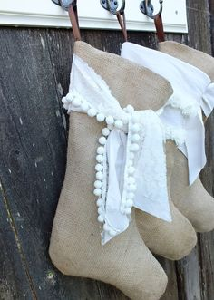 BURLAP CHRISTMAS STOCKING  Shabby  Rustic and by TiddlywinkDesign, $28.00