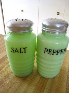 VINTAGE JADITE SALT & PEPPER SHAKERS