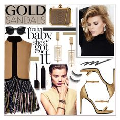 """Micro Trend: Solid Gold Sandals"" by paligg ❤ liked on Polyvore featuring Yves Saint Laurent, Lanvin, MSGM, River Island, Stila, SUITEBLANCO and Serge Lutens"