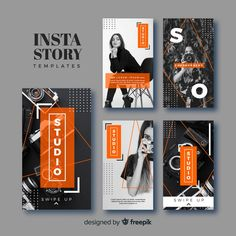 Coleção de modelos de histórias instagram de fotografia Vetor grátis