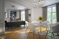 Haussmann Wohnung in Montmartre, Agence KP - Innenarchitekt - FUR Deko Beautiful Home Designs, Office Interior Design, White Walls, Parisian Apartment, Home And Living, Living Room, Sweet Home, Room Decor, House Design