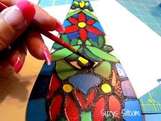 make a faux tiffany lamp from a thrift store find, lighting, painting, repurposing upcycling