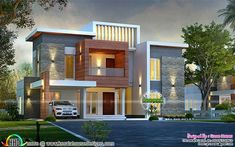 2750 square feet, 4 bedroom box model contemporary house plan by Green Homes, Thiruvalla & Cochin, Kerala. Bungalow House Design, House Front Design, West Facing House, Indian House Plans, Contemporary House Plans, Contemporary Style, House Design Pictures, Model House Plan, Latest House Designs
