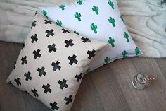 DIY throw pillows. Modern, bright, fun prints
